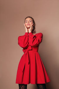 Red Wrap dress with wide belt