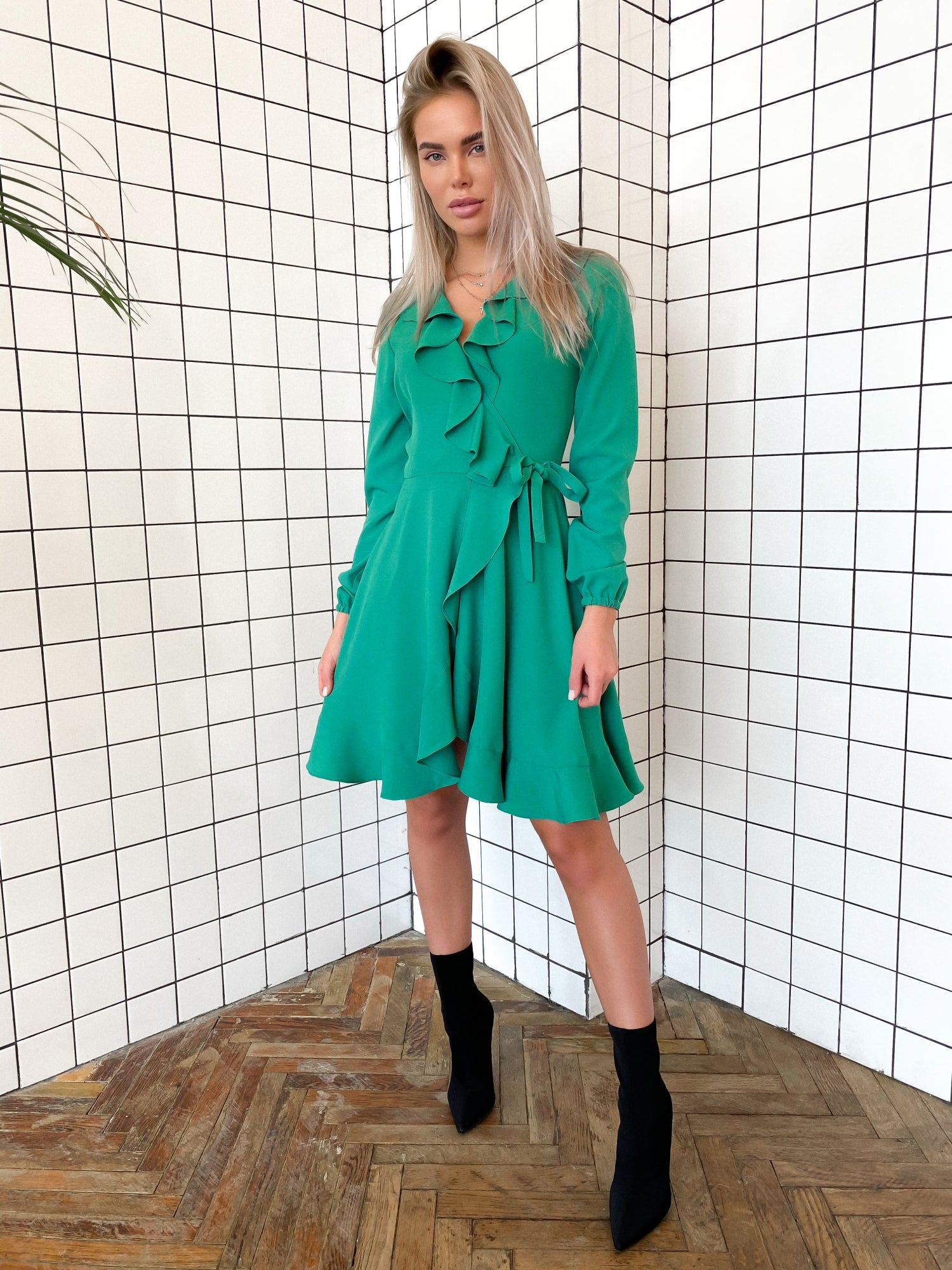 Green Crepe Wrap Dress With Ruches