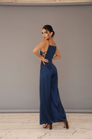 Satin Jumpsuit with Thin Straps
