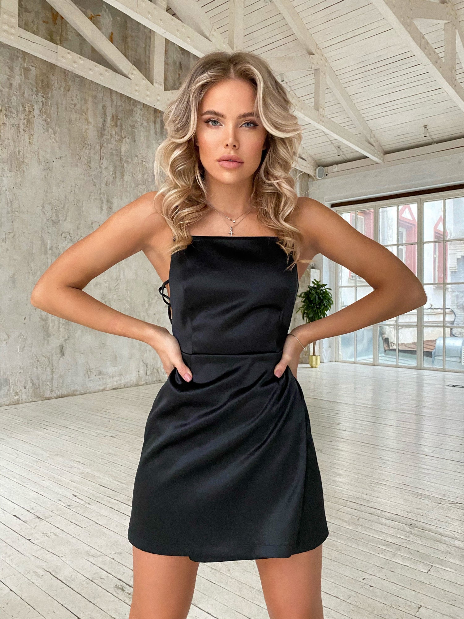 Black Satin Mini Dress With Thin Straps and Lace-Up Sides