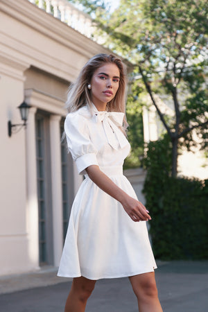 White Linen Dress With Bow