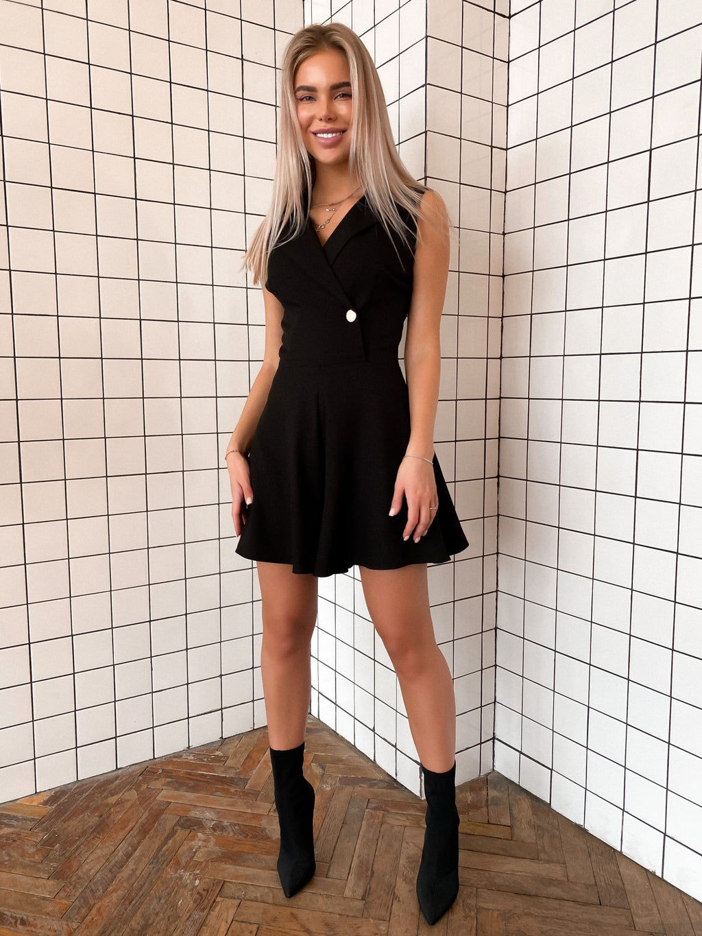 Black Crepe Playsuit