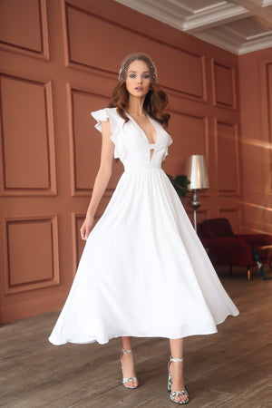White Midi décolletage accent dress