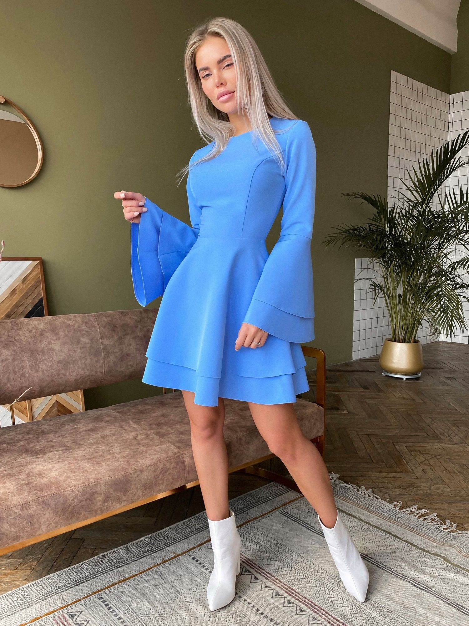 Blue Dress With Double Sleeves and Skirt