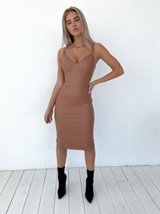 Matte eco-leathered bodycon dress