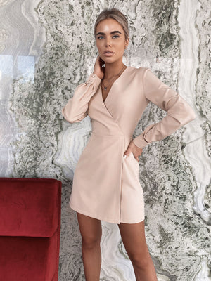 Beige Jumpsuit With Skirt Imitation