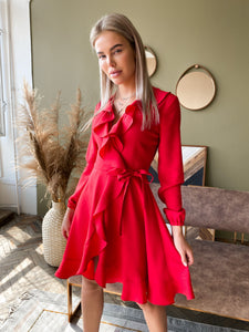 Red Crepe Wrap Dress With Ruches