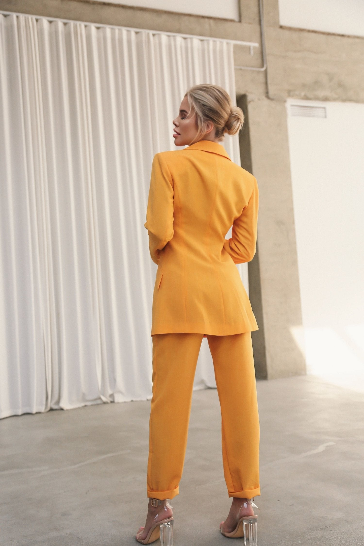 Flared Jacket with Slits on the Sleeves Yellow