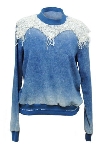 Denim Sweatshirt with pearls and flowers embroidered