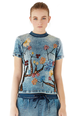 Denim T-shirt Flowers Embroidered