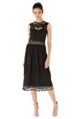 Tulle and laces patchwork midi dress