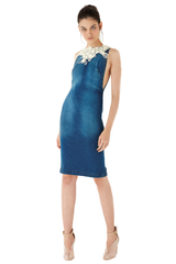 V neckline pearls embroidered denim dress