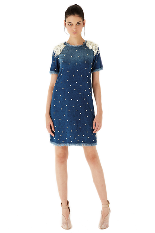 Denim dress with pearls and flowers embroidered