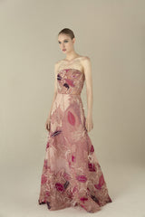 Autumn tulle embroidered long dress