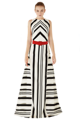 Black&White long stripped dress