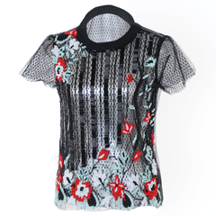 Tulle blouse with embroidered flowers