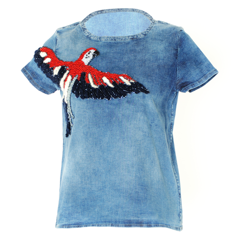 Parrot denim t-shirt