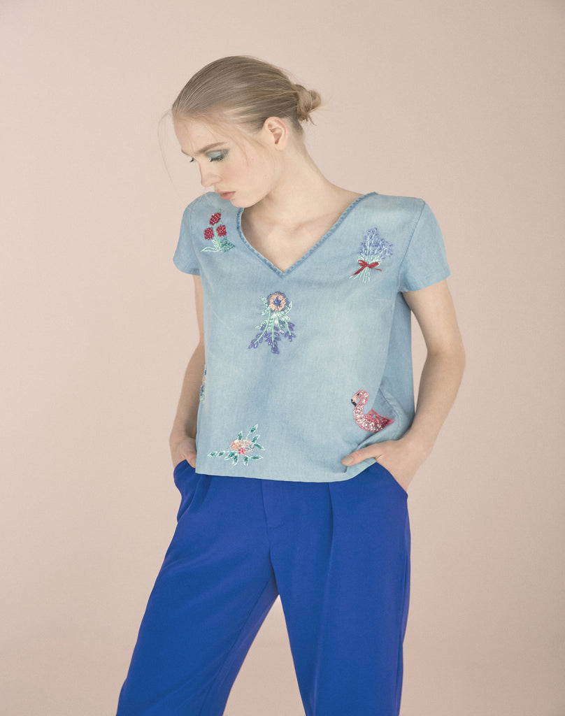 Embroidered denim t-shirt