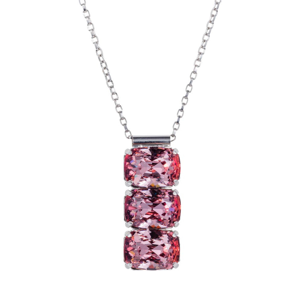 Triple Stone Swarovski Crystal Drop Necklace