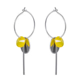 dangle hoop ear rings in yellow