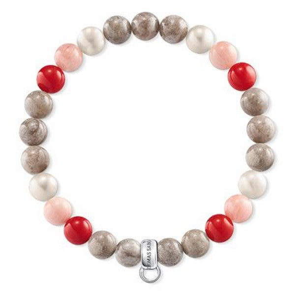 Freshwater Pearl Bracelet, red pink and jasper