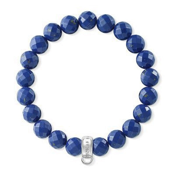 Blue Beveled Beaded Charm Bracelet