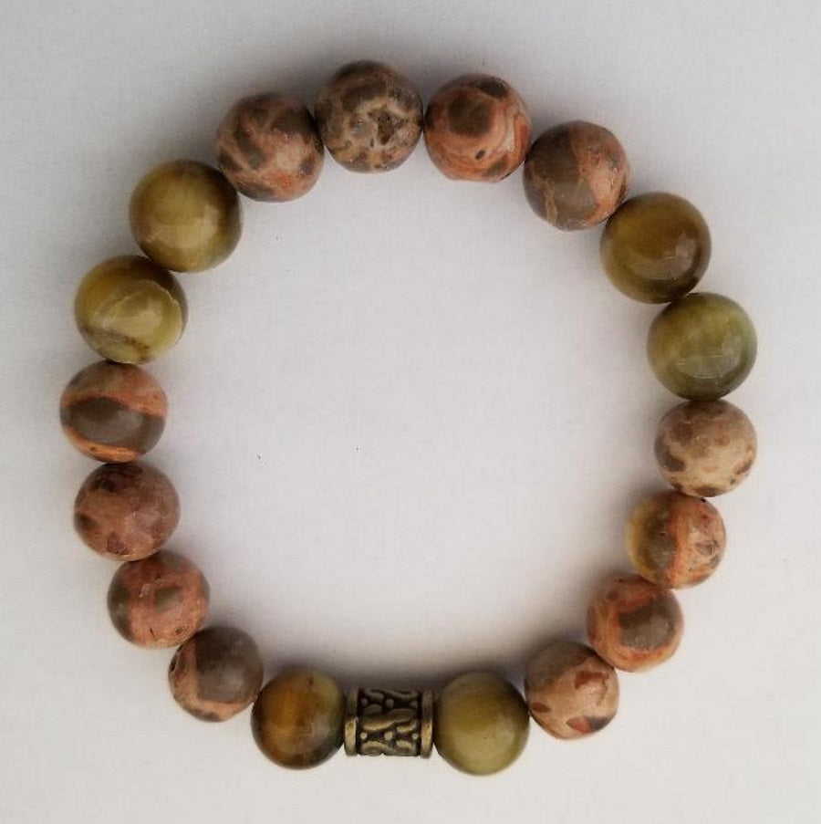 Safari Jasper and Tiger's Eye Stretch Bracelet