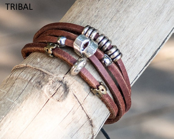 Leather Bracelets with metal designs