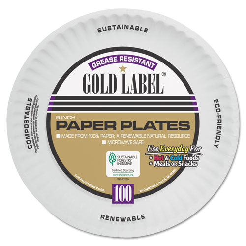 Coated Paper Plates, 9 Inches, White, Round, 100-pack