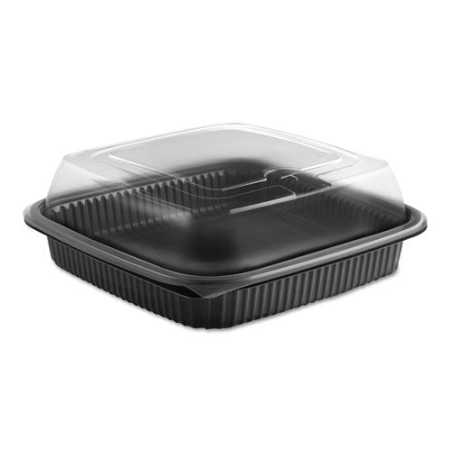 Culinary Squares 2-piece Microwavable Container, 36 Oz, Clear-black, 8.46 X 8.46 X 2.91,150-carton