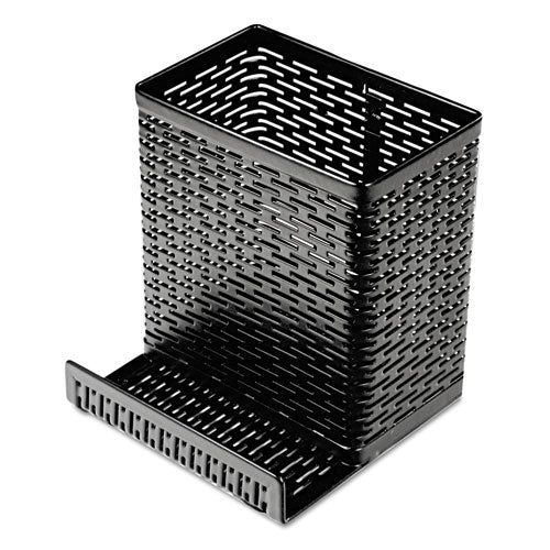Urban Collection Punched Metal Pencil Cup-cell Phone Stand, 3 1-2 X 3 1-2, Black