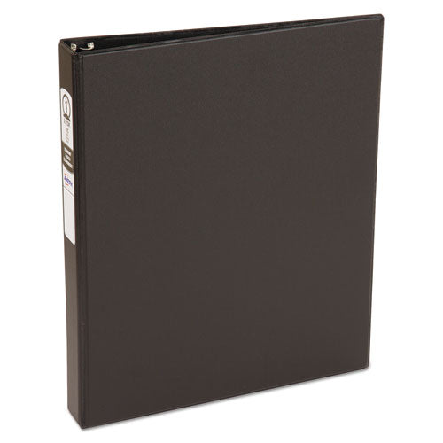 "Economy Non-view Binder With Round Rings, 3 Rings, 1"" Capacity, 11 X 8.5, Black, (3301)"