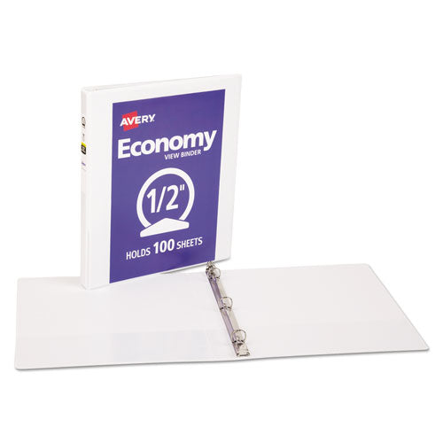 "Economy View Binder With Round Rings , 3 Rings, 0.5"" Capacity, 11 X 8.5, White, (5706)"