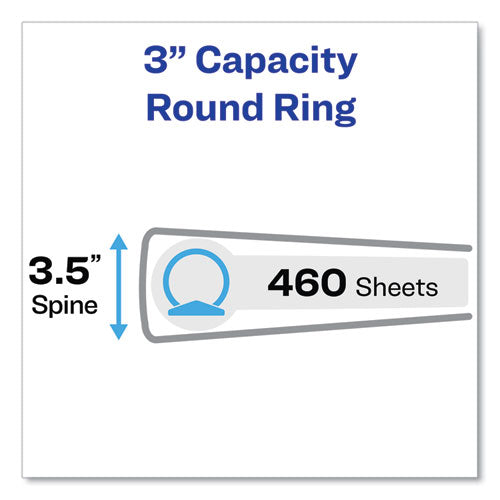 "Economy View Binder With Round Rings , 3 Rings, 3"" Capacity, 11 X 8.5, White, (5741)"