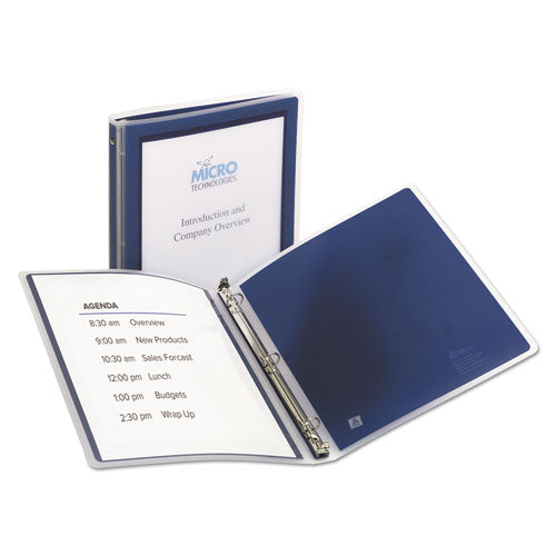 "Flexi-view Binder With Round Rings, 3 Rings, 0.5"" Capacity, 11 X 8.5, Navy Blue"