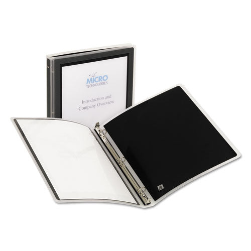 "Flexi-view Binder With Round Rings, 3 Rings, 0.5"" Capacity, 11 X 8.5, Black"