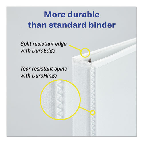 "Durable View Binder With Durahinge And Slant Rings, 3 Rings, 3"" Capacity, 11 X 8.5, White, 4-pack"