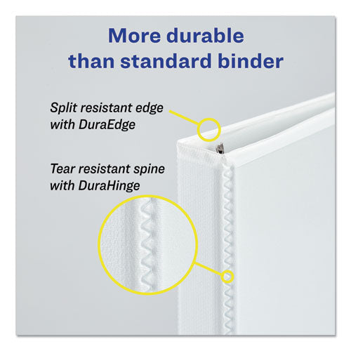"Durable View Binder With Durahinge And Slant Rings, 3 Rings, 2"" Capacity, 11 X 8.5, White, 4-pack"