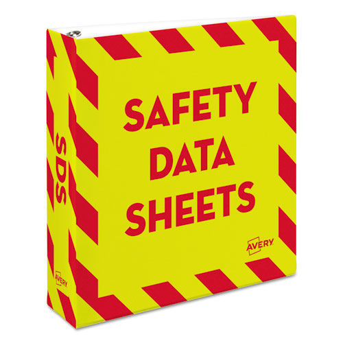 "Heavy-duty Preprinted Safety Data Sheet Binder, 3 Rings, 3"" Capacity, 11 X 8.5, Yellow-red"