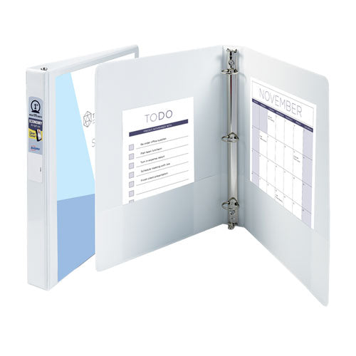 "Economy View Binder With Round Rings , 3 Rings, 1.5"" Capacity, 11 X 8.5, White"