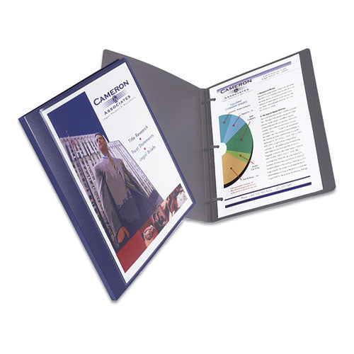 "Lay Flat View Report Cover W-flexible Fastener, Letter, 1-2"" Cap, Clear-blue"