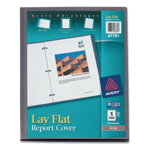 "Lay Flat View Report Cover With Flexible Fastener, Letter, 1-2"" Cap, Clear-gray"