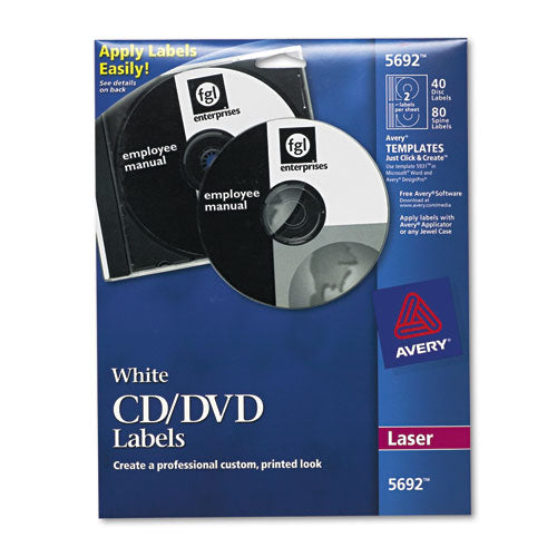 Laser Cd Labels, Matte White, 40-pack