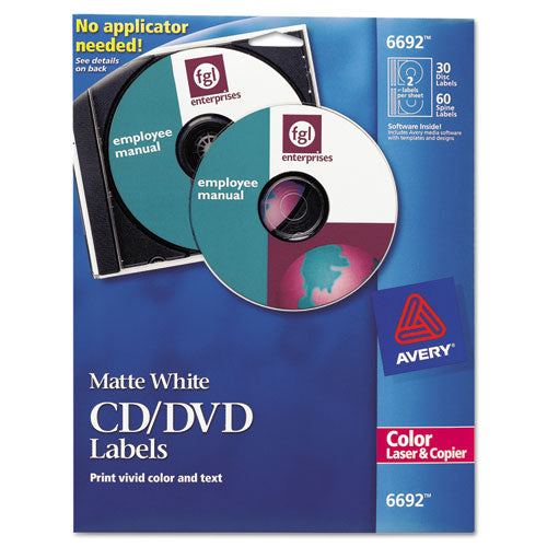 Laser Cd Labels, Matte White, 30-pack