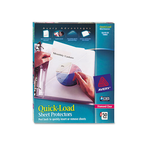 Quick Top & Side Loading Sheet Protectors, Letter, Diamond Clear, 50-box