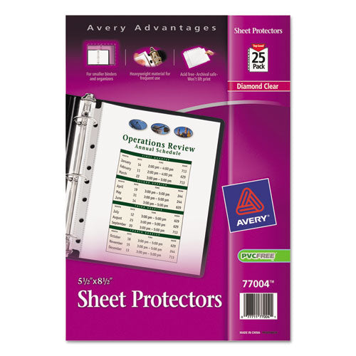 Top Load Sheet Protector, Heavyweight, 8.5 X 5 1-2, Clear, 25-pack