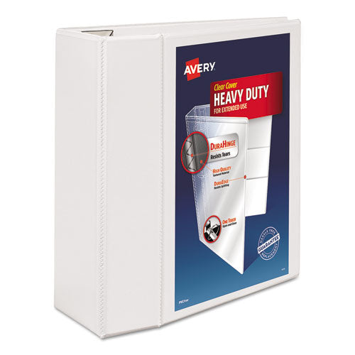 "Heavy-duty View Binder With Durahinge And Locking One Touch Ezd Rings, 3 Rings, 5"" Capacity, 11 X 8.5, White"