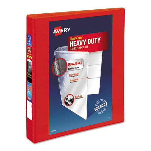 "Heavy-duty View Binder With Durahinge And One Touch Ezd Rings, 3 Rings, 1.5"" Capacity, 11 X 8.5, Red"
