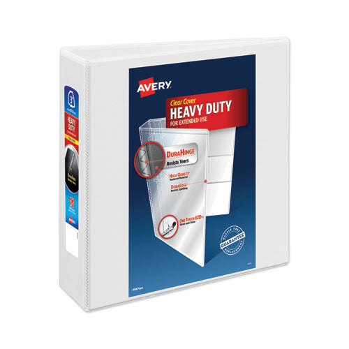 "Heavy-duty View Binder With Durahinge And Locking One Touch Ezd Rings, 3 Rings, 3"" Capacity, 11 X 8.5, White"