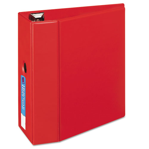 "Heavy-duty Non-view Binder With Durahinge, Locking One Touch Ezd Rings And Thumb Notch, 3 Rings, 5"" Capacity, 11 X 8.5, Red"